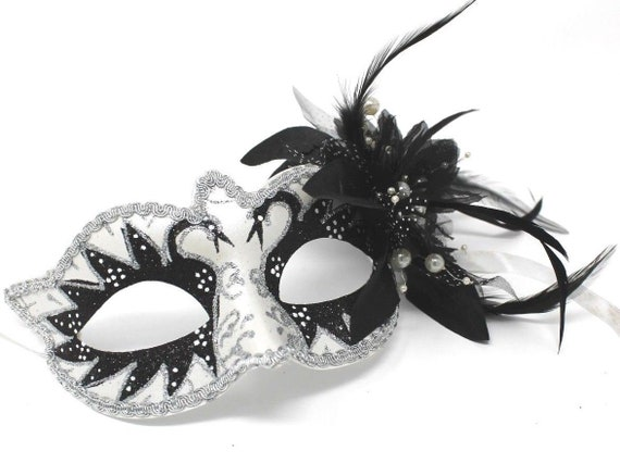 BLACK WHITE SILVER WITH FLOWER SWAN LAKE VENETIAN CARNIVAL MASQUERADE PARTY MASK