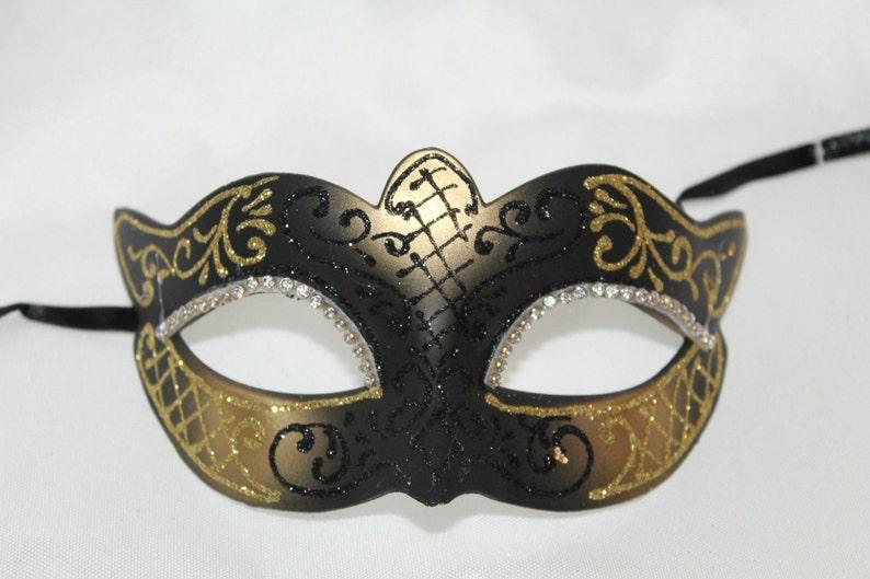 Sparkling Black and Gold Masquerade Mask
