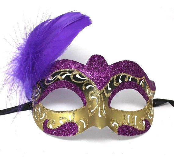 HARLEQUIN MASQUERADE EYEMASK /& SIDE FEATHER Womens Ladies Fancy Dress Accessory