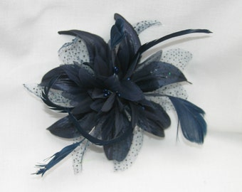 Navy Blue Fascinator on a Comb with Spotted Feather Detail