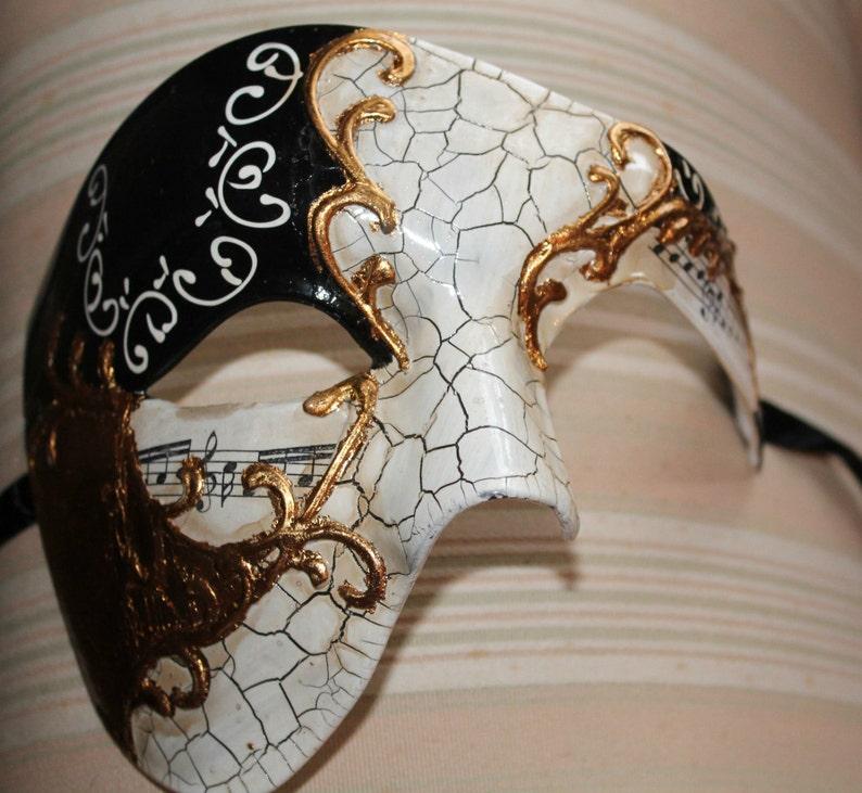 Black and Gold Musical Notes Half Face Phantom Masquerade Mask