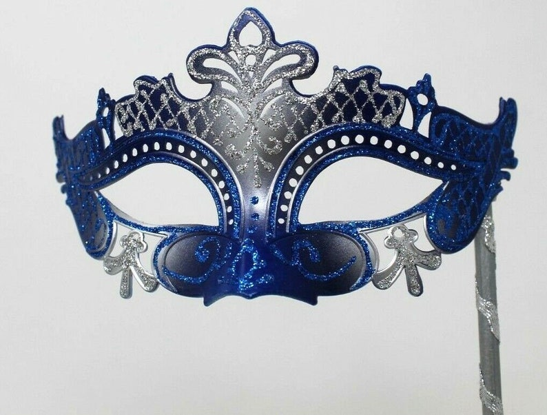 Blue and Silver Rialto Mask on Stick