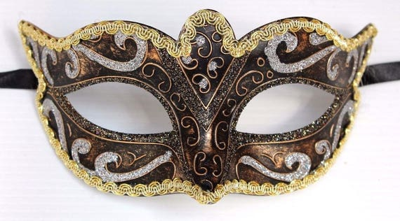 MASQUERADE CARNIVAL HEN /& STAG PARTY GLOSSY BLACK SILVER OR GOLD HALF MASKS