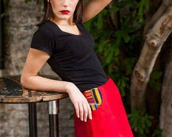 Timeless Red Raw Silk A-line Mini Skirt With Abstract Print Pocket Size 10