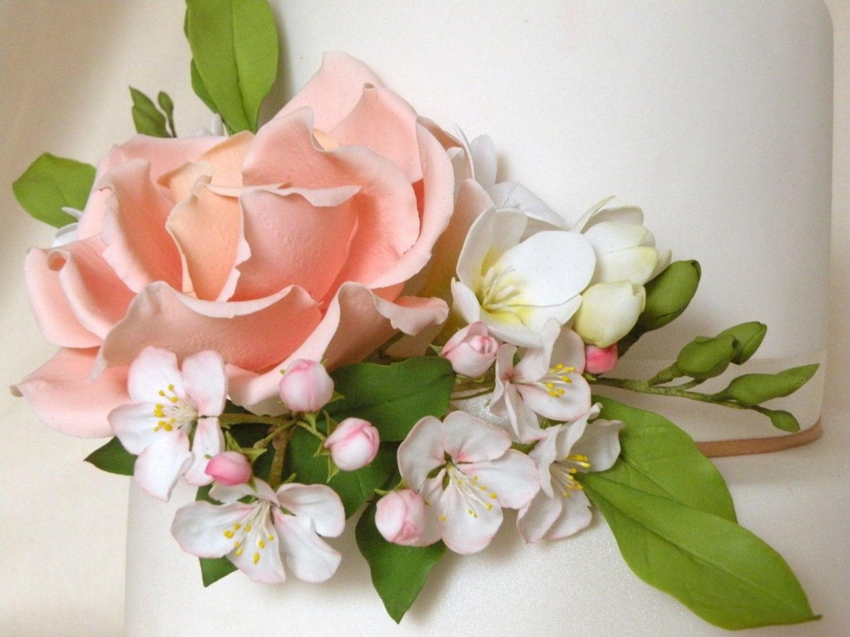 Cake topper gumpaste flowers set etsy zoom izmirmasajfo