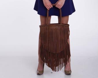 Shoulder Bag, Shoulder Leather Bag, Personalized Leather Bag, Leather Bag for Women, Brown Leather Bag, Fringe Leather Bag
