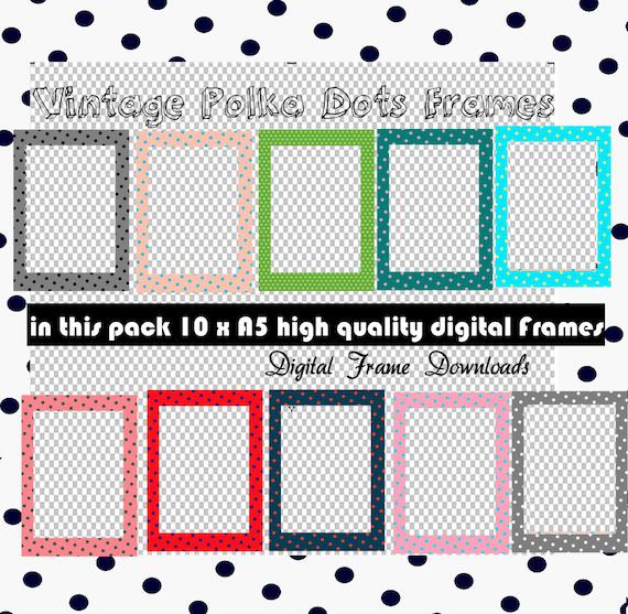 Vintage Polka Dot Digital Frames | Etsy