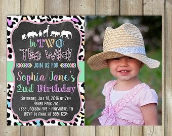 Zoo Birthday Invitation - In Two the Wild - Girls 2nd Birthday Invitation - DIGITAL FILE