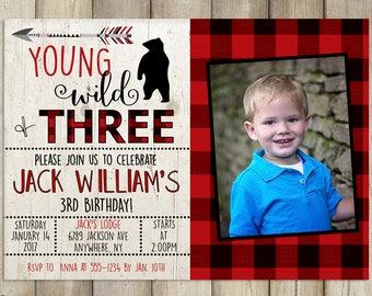 Young Wild Three Birthday Invitation