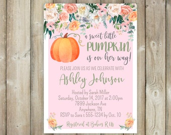 Sweet Little Pumpkin Baby Shower Invitation - Fall Baby Shower Invitation - DIGITAL FILE