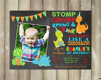 Dinosaur Birthday Invitation Stomp Chomp Grown Roar Party Like A Digital Invite
