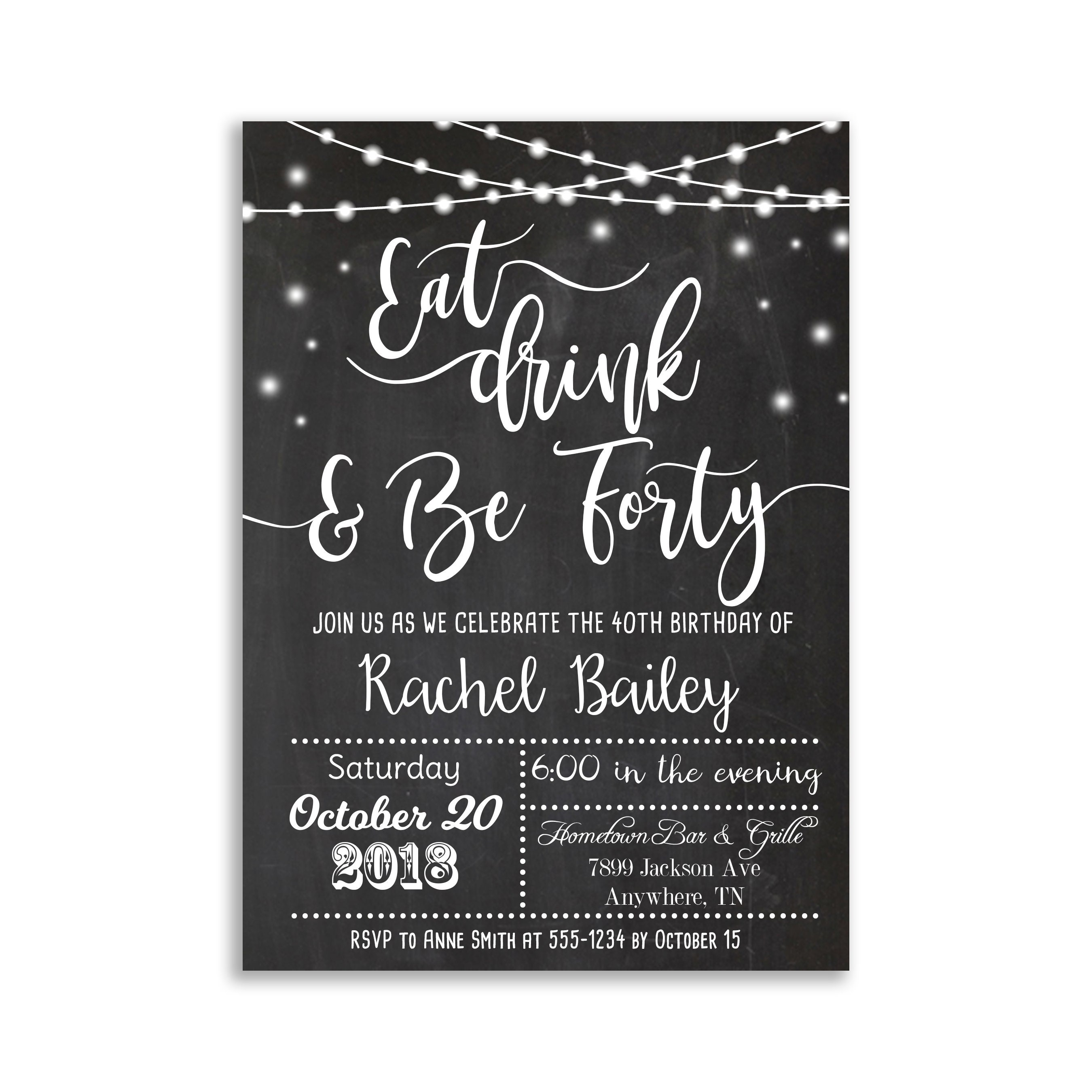 Eat Drink And Be Forty Birthday Invitation 40th 50th 60th