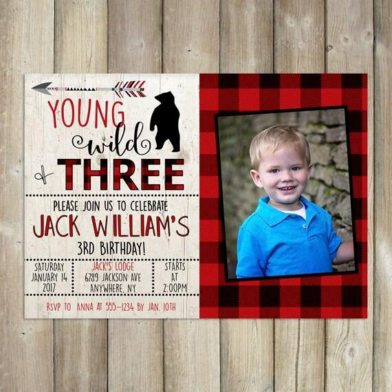 Young Wild Three Birthday Invitation Boys 3rd