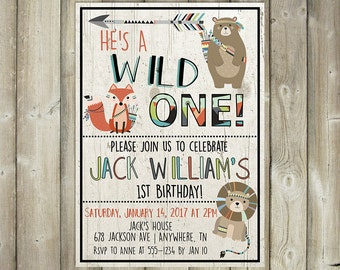 Wild One Birthday Invitation, Boys First Birthday Invite, Tribal Animals, Digital File