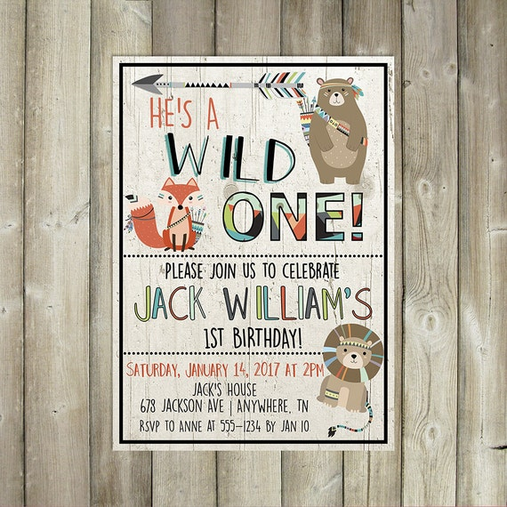 wild one boys first birthday invitation with tribal animals etsy