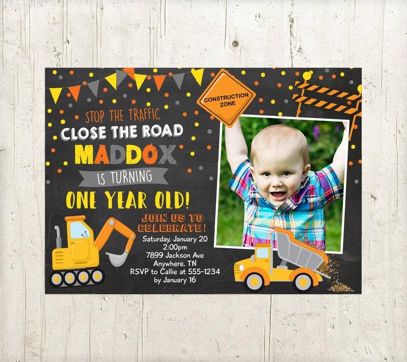 Boys Construction Birthday Party Invitation Dump Trucks Bday Invite Digit