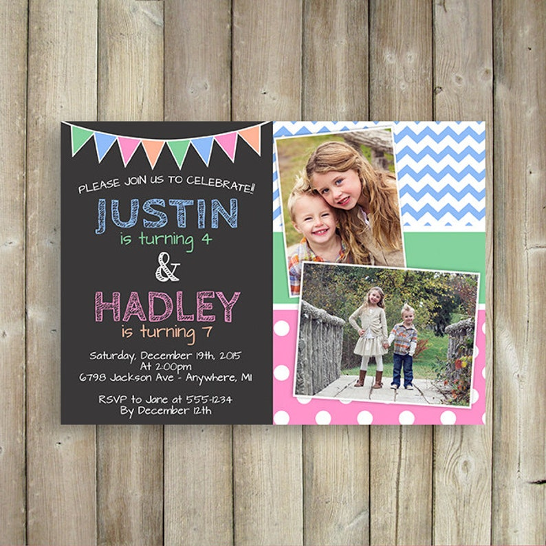Kids Or Adult Joint Birthday Party Invitation For Siblings