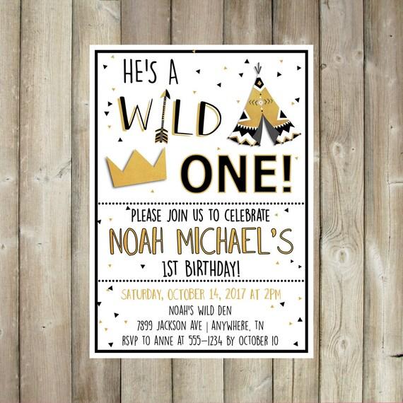 Wild One Birthday Invitation Boys First B Day Invite