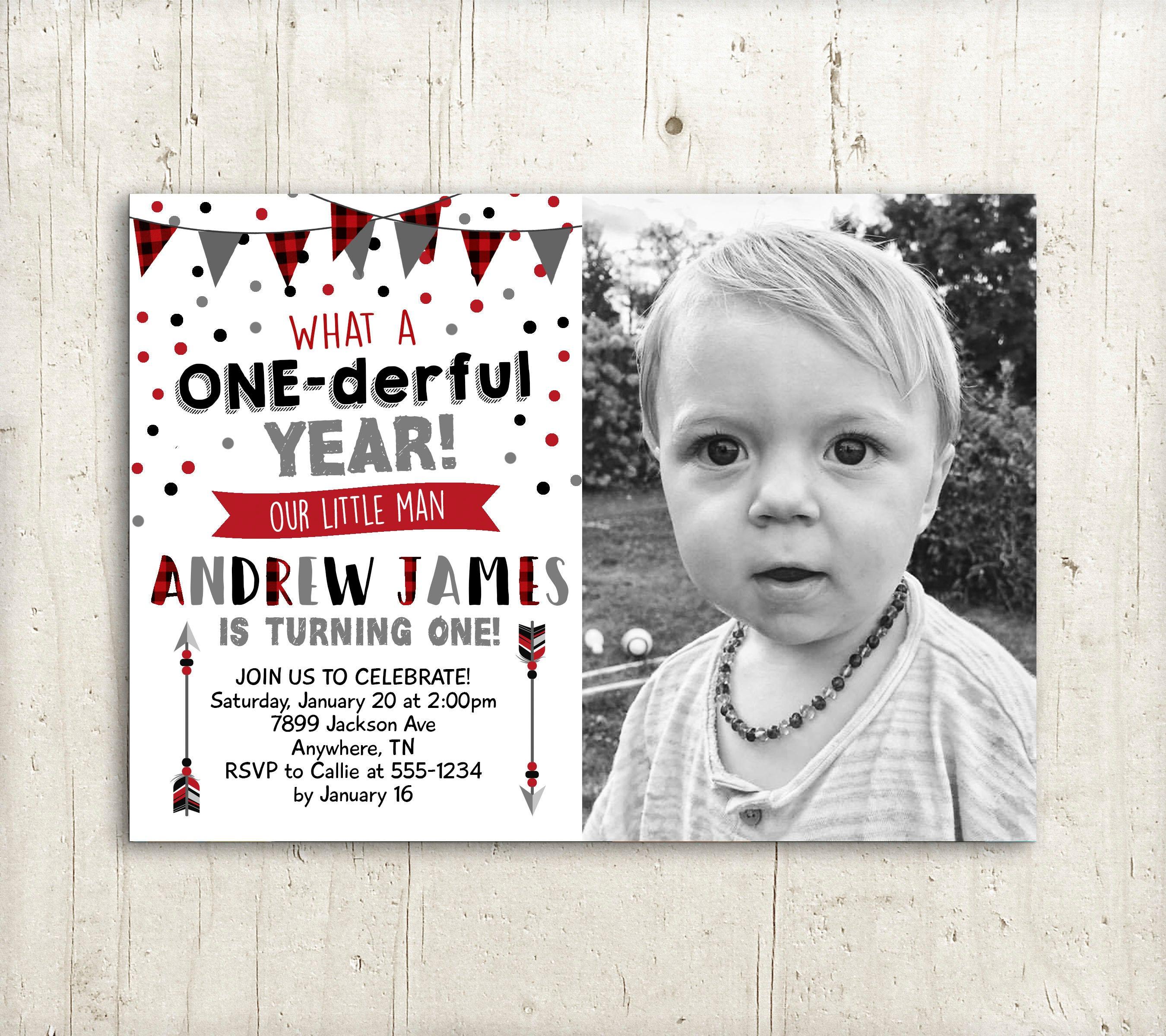 Boys First Birthday Invitation One-derful Year Birthday   Etsy