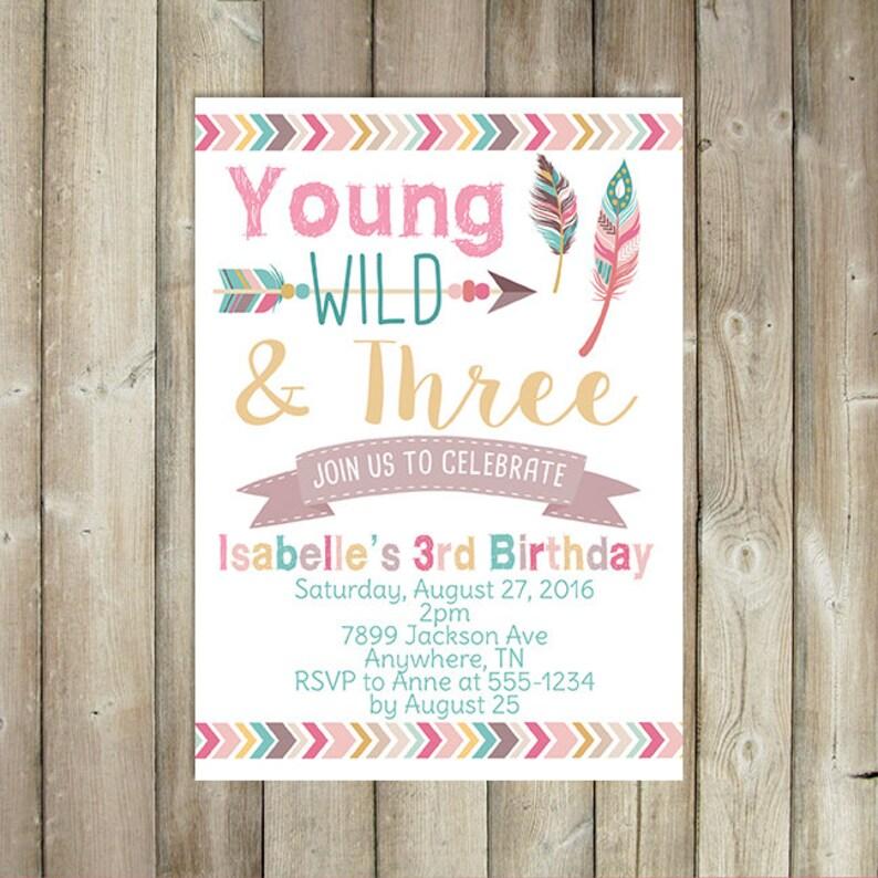 Young Wild And Three Birthday Invitation Third