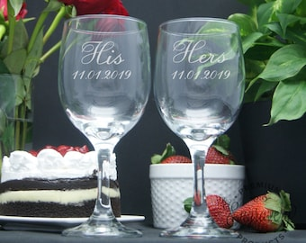 His and Hers Wine Glasses, Custom Engraved, Glasses, Personalized Wine Glass, Wedding Gift for the Couple, Engraved Wine Glass - Set of 2