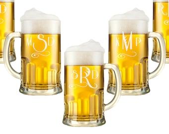 Personalized Beer Mugs, Monogram Glasses, Engraved Beer Mug with Handle, Custom Engraved Beer Glass, Beer Stein, Wedding Party Favor