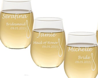 Stemless Wine Glasses / Personalized Bridesmaids Gifts / Engraved Wedding Glasses / Custom Etched / 16 DESIGNS / Select ANY Quantity