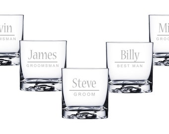 Personalized Glasses, Custom Whiskey Glasses, Groomsmen Gifts, Engraved Gift, Wedding Favor, Custom Whiskey Glasses, Set of Whiskey Glasses