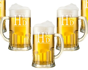 Personalized Beer Mugs - 12oz., Monogram Glasses,  Etched Glasses, Custom Engraved Beer Glasses, Beer Stein, Groomsman, Wedding Party Favor