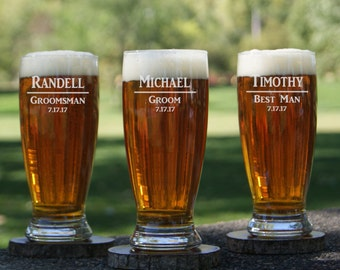 Personalized Pilsner Beer Glasses  / Etched Glasses / Engraved Glass / Custom / Groomsman Gifts / Bridesmaid / Wedding/ Select ANY QUANTITY