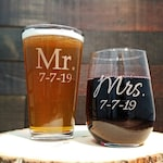 Mr. and Mrs. Beer and Wine Glass Set, Custom Engraved with Date or Name, Gift for the Couple, Wedding Glasses, Set of 2