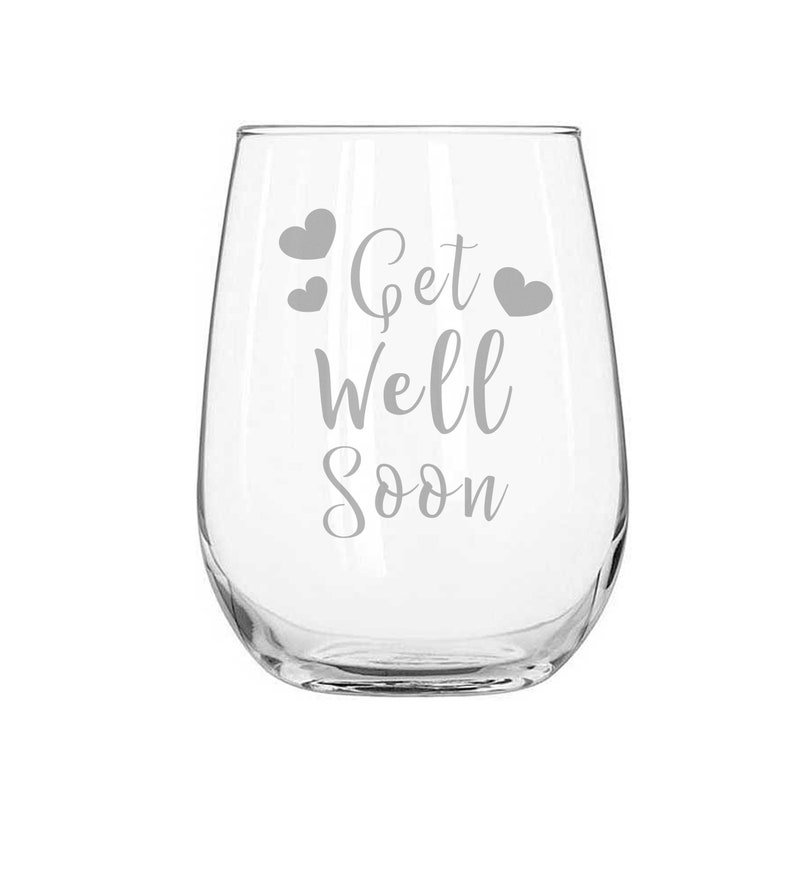 Personalized Stemless Wine Glass Custom Engraved Gift Get Well Soon Stemless Wine Glass