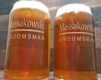 Beer Can Glass Personalized , Engraved Glasses, Groomsmen Gift, Wedding Glasses, Custom Engraved Beer Can Glasses. Beer Can Glass Engraved
