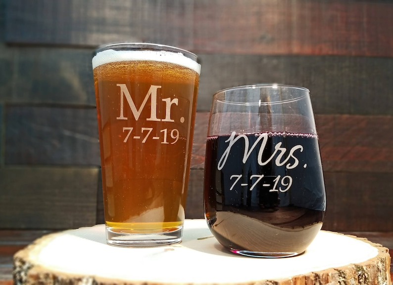 Mr. and Mrs. Beer and Wine Glass Set Custom Engraved with image 0