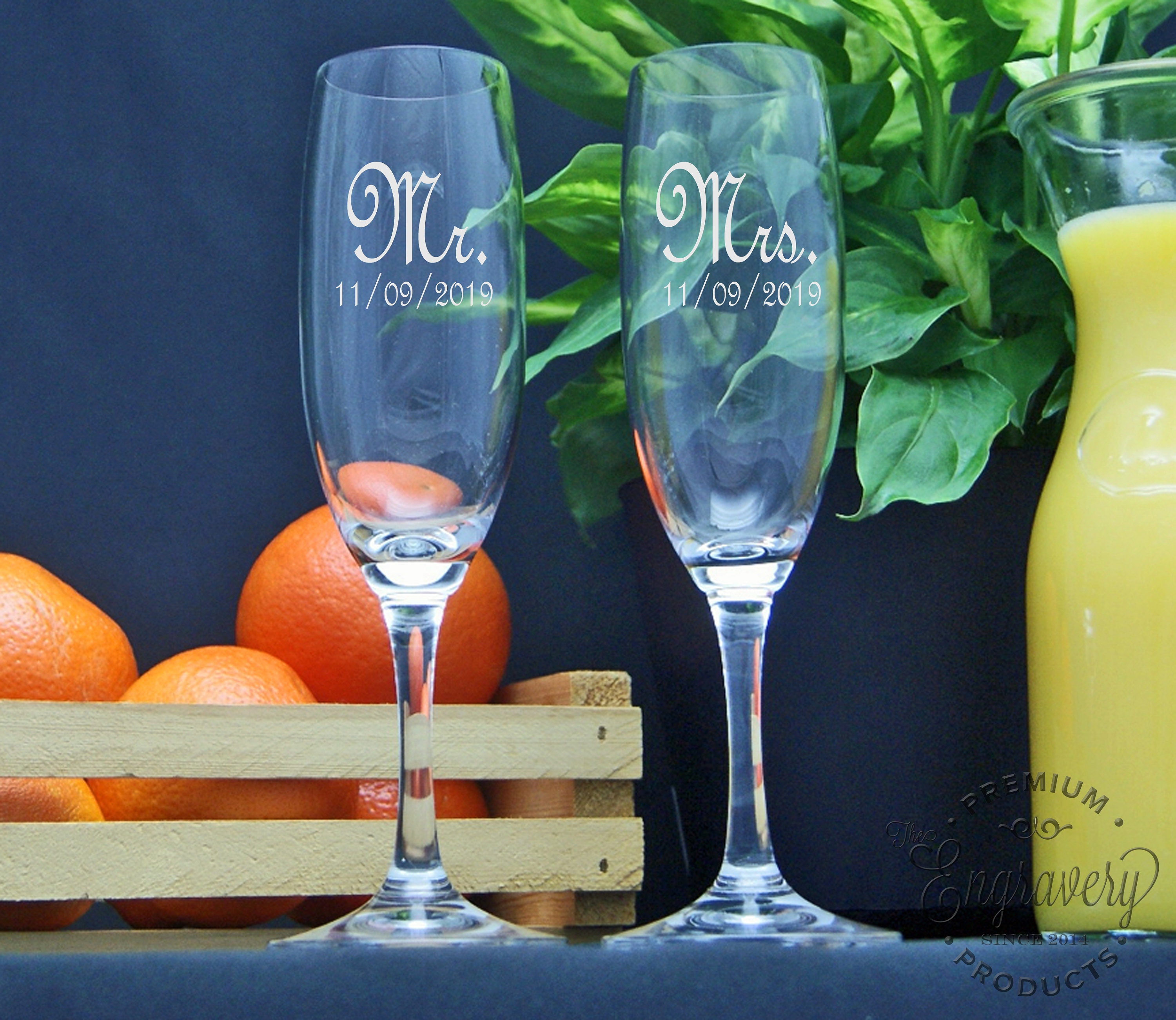 Mr And Mrs Champagne Flutes Personalized Toasting Glasses