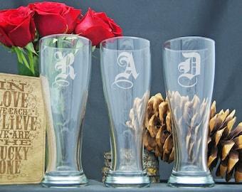 Personalized Beer Glasses, Monogram Glasses, Personalize Pilsner Glass, Custom Engraved Gift, Monogrammed Beer Glass Gift, Housewarming Gift