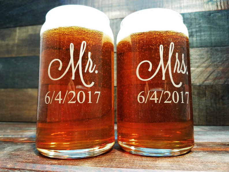 Mr. and Mrs. Beer Can Glasses Personalized Beer Can Glass image 0