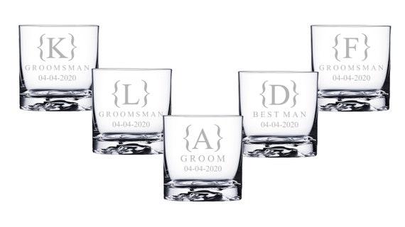 Best Man Etched Whiskey Glasses Groomsman Wedding Gifts Rocks Glasses Personalised Engraved Wedding Whisky Glasses Groom Usher