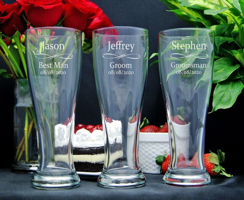 Personalized Beer Glasses Groomsmen Gifts Best Man Gift image 0