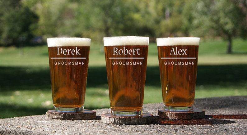 Personalized Beer Glasses Custom Groomsmen Gifts Engraved image 0