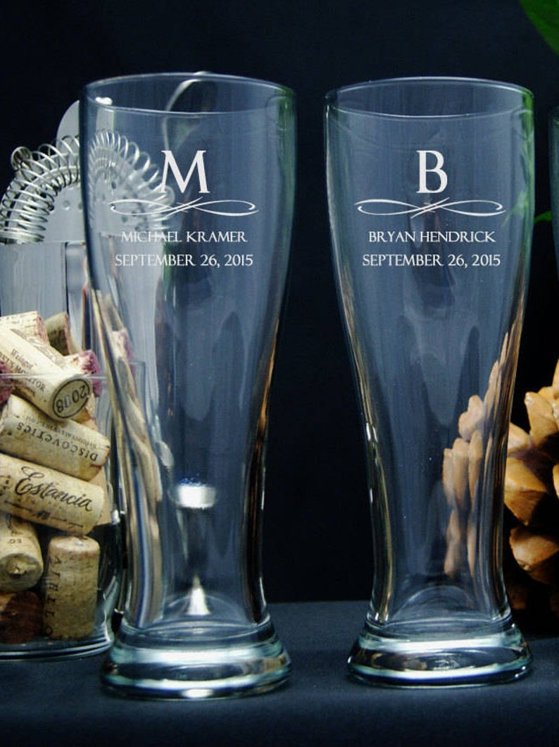 Personalized Beer Glasses / Groomsmen Gifts / Bridesmaids image 0