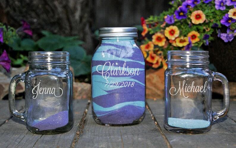 Mason Jar Unity Sand Set Personalized Sand Ceremony Set image 0