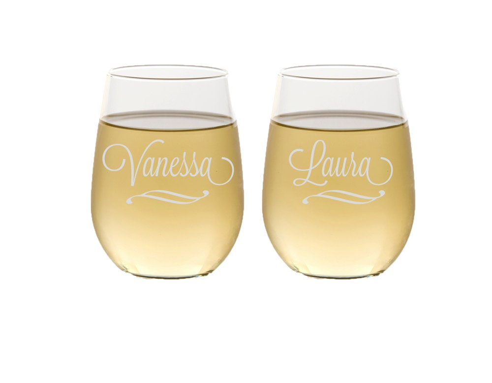 Four Custom Wine Glasses Personalized Etched Wine Glasses Etched