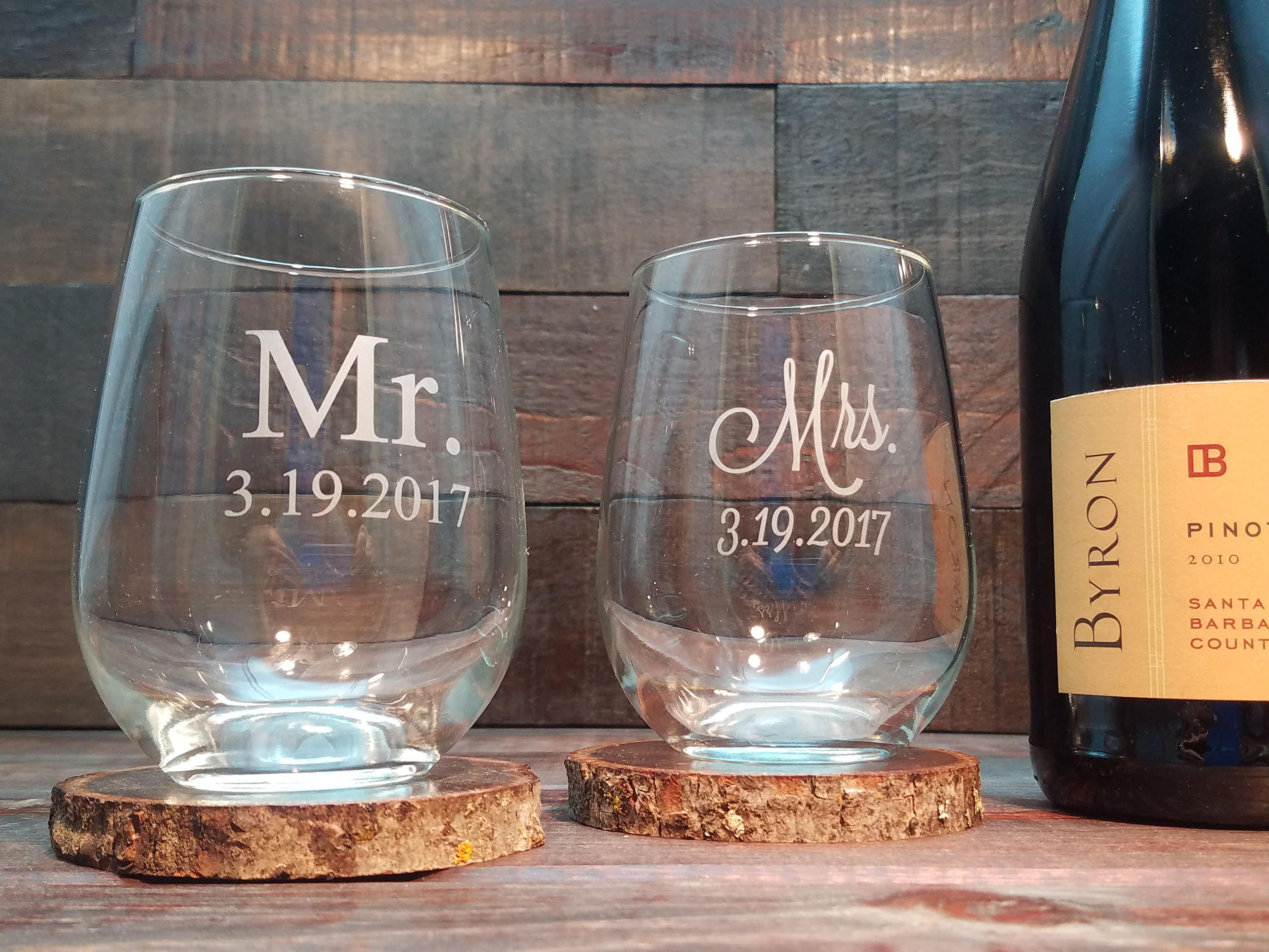 bb2d3acab59 Mr. and Mrs. Stemless Wine Glasses Custom Engraved with Date | Etsy