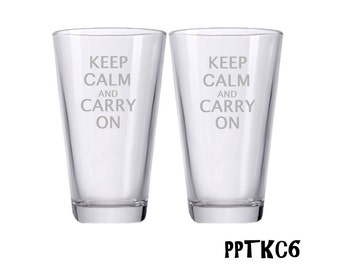 Keep Calm and Carry On / Personalized Beer Glass / Engraved Beer Glasses / Custom Etched Pint / Multiple Designs - Set of 2