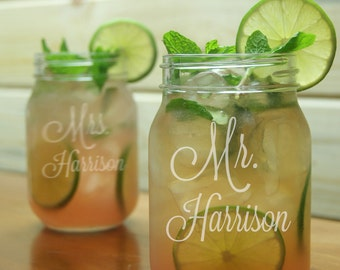 Mr Mrs Mason Jar Glasses / Personalized Wedding Glasses / Engraved Glasses / Etched Gift / Rustic Wedding / Set of 2 - Add Your Date or Name
