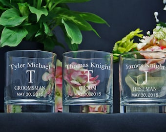 Personalized Whiskey Glasses / Engraved / Groomsmen Gifts / Whiskey Glass / Custom Scotch Glass / Wedding Party Gifts / Best Man Gift