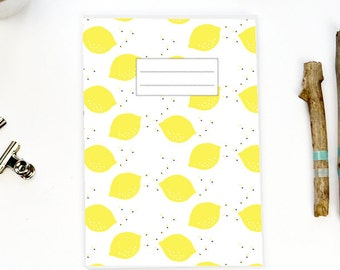 Cahier 64 pages illustration LEMON - motif citrons - papier 100% recyclé - cahier agrafé