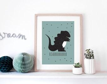 "Graphic poster ""DINO"" - graphic design poster for boy - scandinavian inspiration - dinosaur - blue poster"