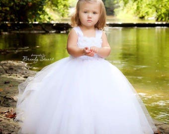 White, ivory shabby chic rose flower girl dress more colors available